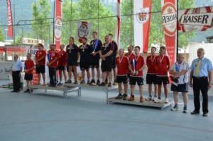 Landesmeister 2015 v.l.n.r.: 2. Rang ESV Fritenzs, 1. Rang EV Breitenbach 1, 3. Rang EV Angerberg